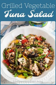 A healthy and mayo-free tuna salad made with sustainable albacore, chargrilled veggies, and Israeli couscous, all tossed in a homemade lemon and fresh herb champagne vinaigrette. #WildSelections #SelectSustainable #tastyeverafter #tunasalad #healthy #saladrecipe #ad via @tastyeverafter @wildselections