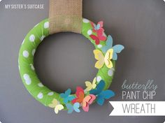Butterfly Paint Chip Wreath (Tutorial)- Guest Post | Craftionary