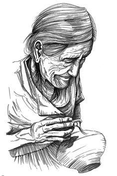 Retrato de anciana ceramista de la selva peruana, Tarapoto - Perú. Dibujo a mano alzada, lápiz y tinta china sobre papel.
