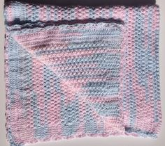 Pink and Blue Variegated Vintage Style Cot Blanket for Baby