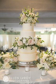 Cake flowers for romantic wedding in Winston Salem NC. Flowers by Eliana Nunes Floral Design.