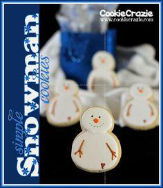 CookieCrazie: Simply Winter Cookies: Snowmen (Tutorial) Christmas Desserts, Christmas Treats, Christmas Baking, Winter Christmas, Christmas Cookies, Cute Snowman, Snowmen, Cookie Designs, Cookie Ideas