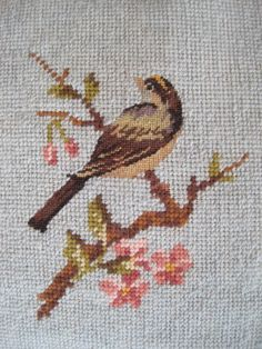 Vintage Needlepoint Bird on a Branch in by nappinghousestudio, $23.00