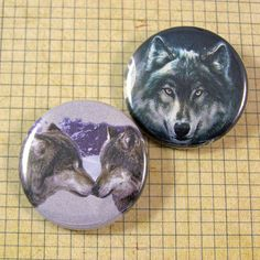 Wolf Pinback Button Set by XOHandworks