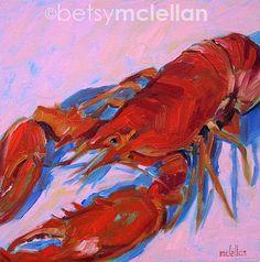 Lobster  Lobster Art  Giclee Print by betsymclellanstudio on Etsy, $10.00