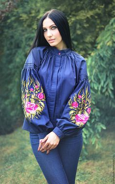 "Buy and order Elegant embroidered blouse ""Flower evening"" on Livemaster online shop. Shipped over Russia and the CIS. Stylish Dresses, Women's Fashion Dresses, Hijab Fashion, Boho Fashion, Fashion Design, Fashion Trends, Embroidered Clothes, Embroidered Blouse, Embroidery Dress"