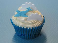Baby Blue Airplane Cupcake