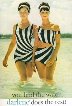 I love the design ascetic on these swimsuits. Very op-artish.   Vintage Ads - Darlene swimwear, 1960s