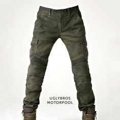 Kevlar Motorcycle Jeans: Motorpool by uglyBROS. Knee and hip protectors, plus stretch rib paneling for extra comfort on the bike.