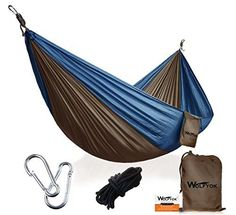 Portable Camping Hammock [3rd Generation] Wolfyok(TM) Multifunctional Lightweight Nylon Parachute Outdoor Hammock for Backpacking, Camping, Travel, Beach, Backyard, Blue/Brown