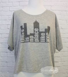 There is no place like NYC New York City Skyline Women's cut Boxy crop t-shirt by OVELO on Etsy