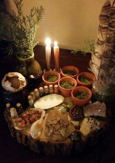 Altar - Witch - Pagan - Pinned by The Mystic's Emporium on Etsy… Autel Wiccan, Wicca Altar, Wicca Witchcraft, Pagan Witch, Magick, Wiccan Decor, Spiritual Decor, Green Witchcraft, Witch Cottage