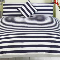Navy blue and white striped bedding