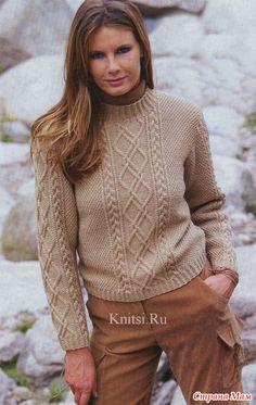 Хочу связать себе пуловер. Уже несколько дней ищу модельку подходящую. Вот этот понравился. Только вот никогда не вязала ничего подобного... Размеры: 36/38 (42/44) 46/48