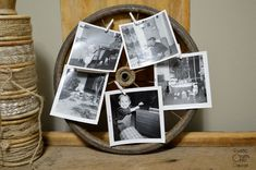 vintage carriage wheel used as a photo display