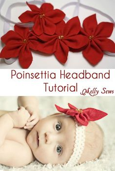 Poinsettia Headbands--headbands, package or clothing embellishment