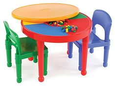 Tot Tutors Kids 2-in-1 Plastic LEGO-Compatible Activity Table and 2 Chairs Set, Primary Colors.   For product info please visit:  https://homeandgarden.today/tot-tutors-kids-2-in-1-plastic-lego-compatible-activity-table-and-2-chairs-set-primary-colors/