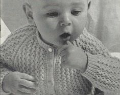 """PDF Knitting Pattern, 3Ply, Sz 17 & 19"""" Baby Cardigan Knitting Patterns, Crochet Patterns, Keeping Chickens, Baby Cardigan, Men Sweater, Pdf, Trending Outfits, Unique Jewelry, Handmade Gifts"""
