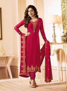 Rani pink churidar kameez with dupatta. Work - Embroidery, buttis and lace on top with heavy embroidery on dupatta. Paired with the matching bottom and dupatta. Punjabi Fashion, India Fashion, Punjabi Suits, Salwar Suits, Indian Clothes, Indian Outfits, Churidar, Salwar Kameez, Drashti Dhami