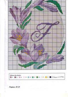 fleur - flower - crocus - point de croix - cross stitch - Blog : http://broderiemimie44.canalblog.com/