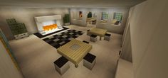 Minecraft Breakfast Nook Dining Table Room Hall Fireplace