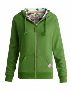 Joules null Womens Hooded Zip Sweat, Grass.                     A heavyweight hooded top, made for mornings when the sky is clear and the air is fresh. Perfect to pack for a weekend away. The contrast-lined hood adds to the cosiness of this cotton-rich classic