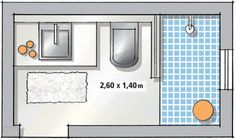 Banheiro tem cimento queimado no piso, na parede e até no forro - Small Bathroom Plans, Bathroom Layout Plans, Small Bathroom Layout, Bathroom Floor Plans, Bathroom Flooring, Mini Bad, Tiny Bath, Basement Remodel Diy, Toilet Design