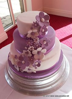 Purple and White Blossoms 3 Tier Wedding Cake | Flickr - Photo Sharing!