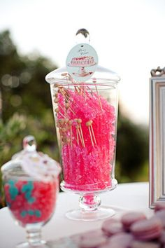 Discover the best ideas for Cake & Desserts! Read articles and watch videos about Cake & Desserts. Candy Jars, Candy Buffet, Rock Candy Sticks, Candy Shop, Apothecary Jars, Party Items, Candyland, Sweets, Sweet Buffet