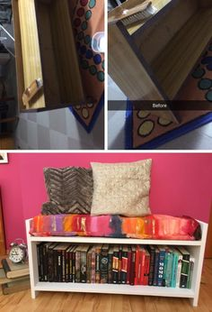 Turned an old nasty shoeshelf into a nice bookshelf-bench ❤️ #recycle # thrifted #art #diy #decor