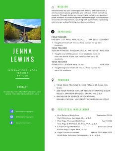 Yoga Teacher Resume should include your name, a fun photo, contact information, related experience, compelling mission, training information, and projects & involvement in the industry. Don't forget your social media on your resume!