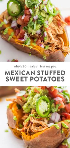 Mexican Sweet Potatoes, Sweet Potato Recipes, Chicken Recipes, Dinner With Sweet Potatoes, Stuffed Sweet Potatoes, Whole 30 Potatoes, Paleo Whole 30, Whole 30 Recipes, Paleo Recipes