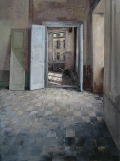 call me crazy, but I kinda like this patchwork floor tile idea... Matteo Massagrande(Italian, b.1959)