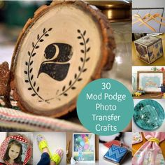 One of the most loved ways to decoupage is to do a Mod Podge photo transfer - here are 30 ideas to get you inspired from fashion to vintage home decor! Great ideas for photo transfer to wood to fabric to canvas to glass and more. Transfer Photo To Glass, Mod Podge Photo Transfer, Wood Transfer, Transfer Paper, Diy Home Crafts, Crafts To Do, Creative Crafts, Decor Crafts, Creative Activities