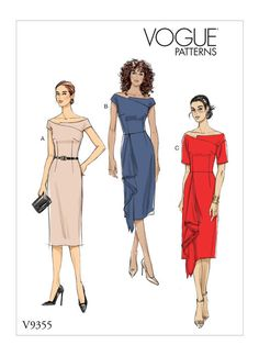V9355 MISSES' OFF-SHOULDER DRESS  Fitted dress has lined off-the-shoulder bodice with asymmetrical front yoke, back slot zipper, and skirt with back slit, with or without asymmetrical front drape. B, C: Wrong side of fabric will show.  #voguepatterns #sewingpatterns Wedding Dress Sewing Patterns, Summer Dress Patterns, Sewing Lessons, Sewing Class, Vogue Patterns, Plus Size Patterns, Miss Dress, Pattern Drafting, Pattern Fashion
