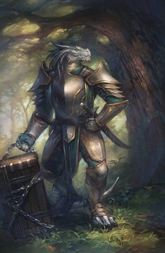 m Dragonborn White silver Fighter Paladin multi-class Plate Armor Dual Sword Chest Deciduous Forest Trail Male Half Dragon lg Fantasy Warrior, Fantasy Races, Fantasy Dragon, Fantasy Rpg, Medieval Fantasy, Fantasy Artwork, Dragon Warrior, Dungeons And Dragons Art, Dungeons And Dragons Characters