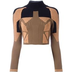Yeezy Season 3 cropped knitted top (€475) ❤ liked on Polyvore featuring tops, brown, adidas originals, brown crop top, brown tops, cut-out crop tops and crop top
