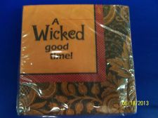 Halloween Cocktails Orange Black Wicked Carnival Party Paper Beverage Napkins