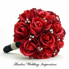 black and red wedding flowers bridal bouquet red rose i think i would like this with pearls - Wedding Flowers Roses Red Prom Bouquet, Rose Bridal Bouquet, Red Rose Bouquet, Purple Wedding Bouquets, Prom Flowers, Silk Flowers, Diy Bouquet, Bridal Bouquets, Flower Bouquets