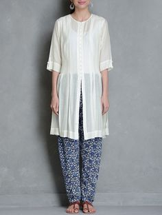 Buy Kurta: Ivory Elasticated Waist Churidar: Indigo Pleated Button Down Kalidar Kurta with Block Printed Churidar Set of 2 by Raiman Sethi Silk Cotton Apparel Tunics & Kurtas Kanjari Collection Hand Vegetable Dyed Dresses Shirts More Online at Jaypore.com