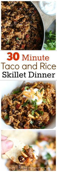 30 Minute Skillet Dinner. Delicious and packed with fiber and protein. A dinner everyone in the family will love. ~ http://reallifedinner.com