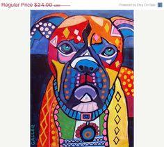 Dog Print Dog Art Boxer Dog Art PRINT Poster by HeatherGallerArt
