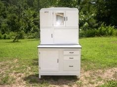 You are bidding on a white hoosier type kitchen cabinet with an enamel top in great condition. If you are looking for a kitchen cabinet of this type, very popular today, this is the one for you becau Vintage Enamelware, White Enamel, Kitchen Cabinets, House Design, Popular, Type, Antiques, Antiquities, Antique