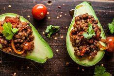 Avocado with smoky lentils