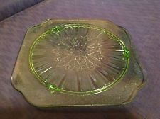 "Vintage 10"" Adam Pattern Footed Cake Plate in Green Depression by Jeannette"