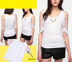 T-Shirt DIY: Beautiful Alteration of T-Shirts. Many Examples From http://secondstreet.ru/blog/peredelka_futbolki/krasivye-peredelki-futbolok-i-maek-trafik.html