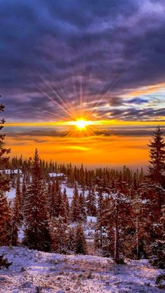 Sunset , valley and winter - Norway