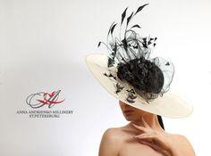 4c1a61ae408 Black and White Royal Ascot horse race hat by FeltSilkArtGift