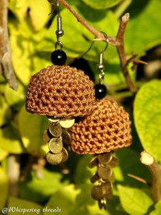 Earthy crochet jhumkas with golden trims by Pratibha