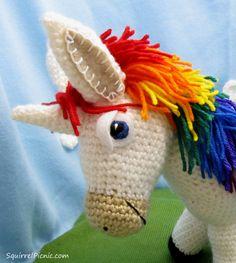 Rainbow Donkey / Unicorn Free Amigurumi Crochet Pattern by Squirrel Picnic Crochet Unicorn Pattern, Crochet Horse, Crochet Deer, Crochet Wool, Crochet Amigurumi Free Patterns, Crochet Animals, Stuffed Animal Patterns, Donkey, Yarn Crafts